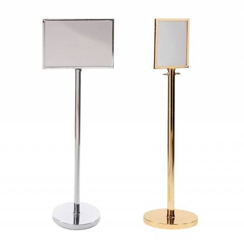 Prestige Decorative A3 A4 Sign Stands Chrome or Brass
